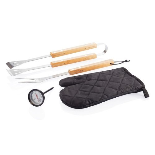 4-delige barbecue set, zwart