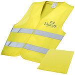 Professional safety vest in pouch, Yellow