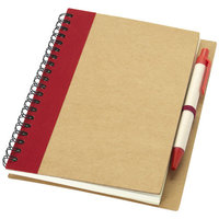 Priestly A6 notitieboek met pen, Naturel,Rood