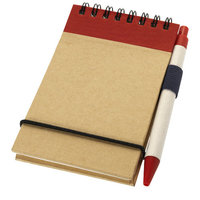 Zuse notitieboek met pen, Naturel,Rood