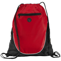 The Peek Drawstring Cinch Backpack, Red, solid black