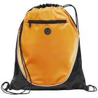 The Peek Drawstring Cinch Backpack, Orange, solid black
