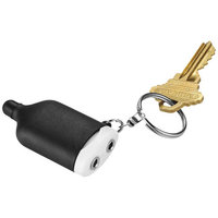 2-IN-1 Music Splitter Keychain with Stylus,  solid black,White