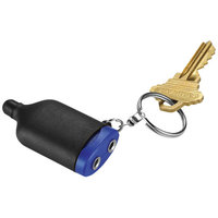 2-IN-1 Music Splitter Keychain with Stylus,  solid black,Royal blue