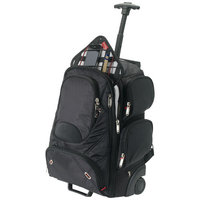 "Proton checkpoint friendly 17"" laptop wheeled backpack,  solid black"