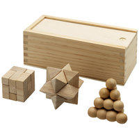 Brainiac 3 piece wooden brainteasers, Wood