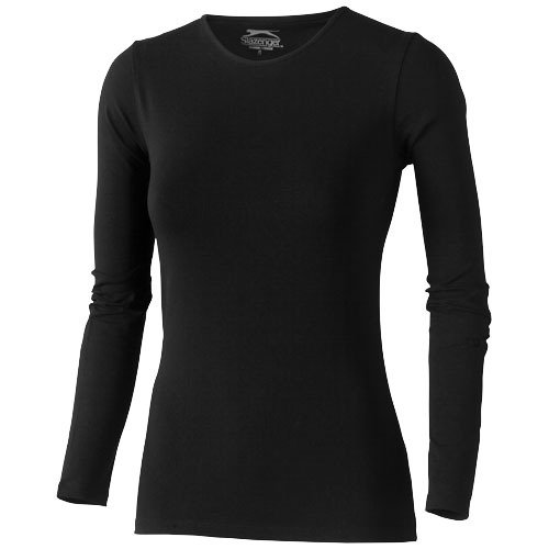 Curve long sleeve ladies T-shirt,  solid black