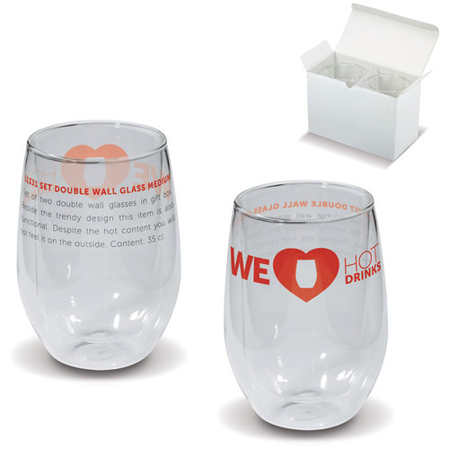 Med. Size double wall glass set,