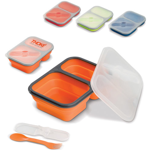 Foldable silicone lunchbox, Blue
