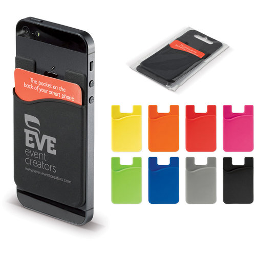 Smartphone silicone card holder, Black
