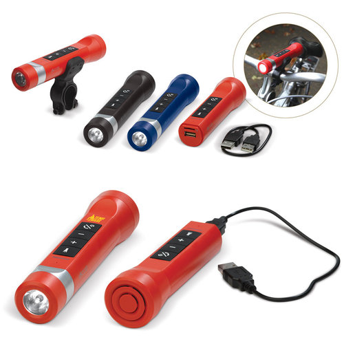 Powerbank speaker zaklamp 2200mAh, Rood